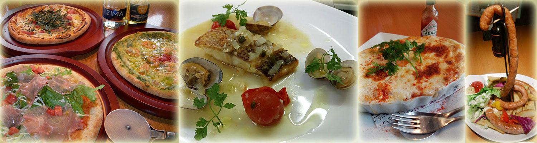 ピザいろいろ・真鯛のグリル・カキのグラタン・キングコブラソーセージ